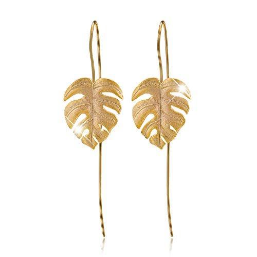 ♥ Regalo para Navidad♥ JIANGYUYAN Pendientes colgantes de plata esterlina S925 Pendientes colgantes de hojas de Monstera para mujeres y niñas, regalo de joyería único hecho a mano(Gold)