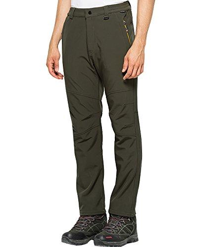 Jessie Kidden Men's Outdoor Windproof Waterproof Hiking Mountain Ski Pants, Soft Shell Fleece Lined Trousers #5088-Army Green,US M 33