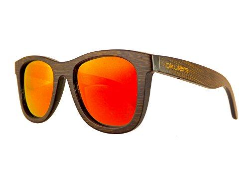 Okulars® Dark Bamboo - Sonnenbrille aus Holz für Damen & Herren, Handgefertigt - eine Größe - Polarisierte und Verspiegelte Gläser - UV400 Schutz - Cat.3 (Rot)