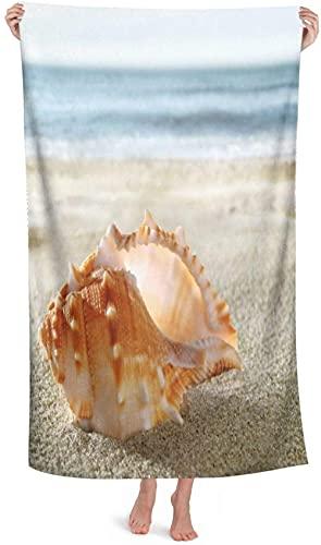 Toalla de Playa,Toalla de Playa de Microfibra ,Shell en la Playa de Arena,Toalla de baño Unisex Manta de Picnic Accesorios de Camping 130x80cm