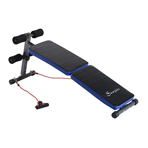Soozier Adjustable Folding Ab Decline Sit-Up Bench with Resistance Bands