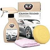 K2 - Set di prodotti per la cura dell'auto per rivestimenti in ceramica e quarzo, massima durata, adatto anche per verniciature su plastica, gomma e vetro