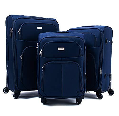 R.Leone Valigia da 1 pezzo Fino a Set 3 Trolley Espandibile grande, medio e bagaglio a mano 4 ruote in stoffa (Blu, Set 3 S M L)