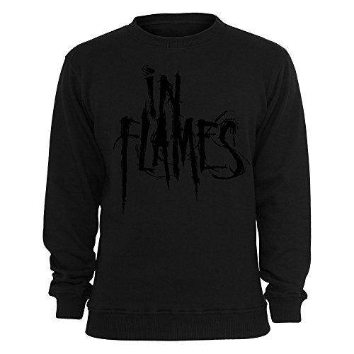 IN FLAMES - Logo - Black on Black - Sweater / Pullover Größe S
