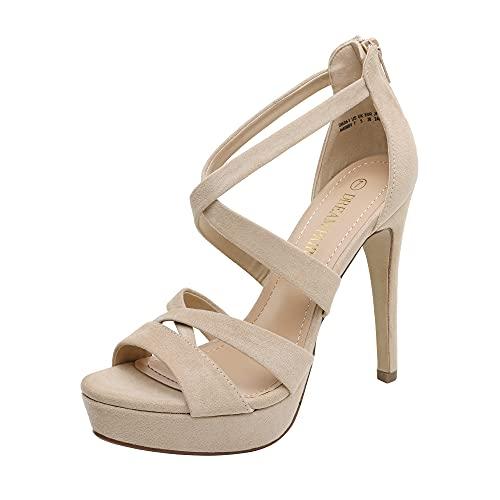 DREAM PAIRS Women's Nude Suede Open Toe High Heel Platform Dress Pump Sandals Size 6.5 US Oneda-1