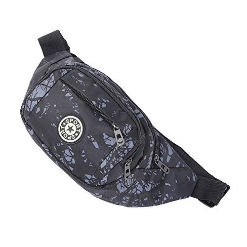 WINSTON-UK Riñonera para hombre y mujer, con bolsillos, impermeable, para correr, senderismo, viajes, etiqueta redonda, árbol de la fortuna, color negro