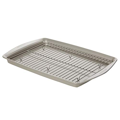 Rachael Ray Nonstick Bakeware Set without Grips, Nonstick Cookie Sheets / Baking Sheets and Cooling Rack - 2 Piece, Silver