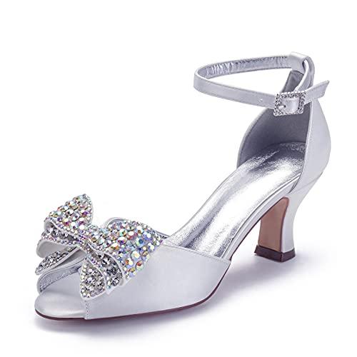 Gycdwjh Zapatos de Novia para Mujer, Elegante Satén Zapatos de Tacón con...