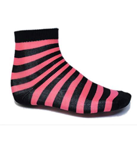 KarnevalsTeufel Socken gestreift Ringelsocken gestreifte Strümpfe Karneval Mottoparty (schwarz/pink)