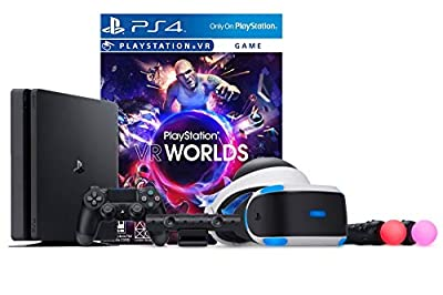 PlayStation VR Launch Bundle 2 Items: VR Launch Bundle, Sony PlayStation4 Slim 1TB Console- Jet Black from Sony