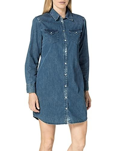 REPLAY W9632 Vestido, 009 Azul Medio, XL para Mujer
