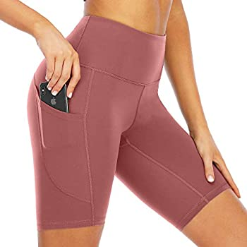 scicent Women s Shorts Running Yoga Workout Compression Seamless Active Volleyball Shorts Pocketed Legging Pink L US 8 10