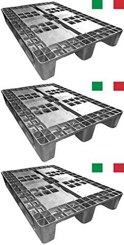 Cenni 12003 Set 3 Bancali Pallet in Plastica 1200 x 800 con 3 Traverse, Made in Italy
