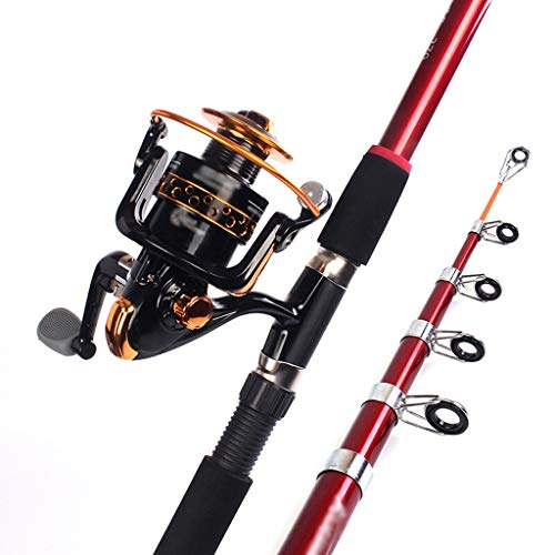NYKK Angelrute Angel Set Super Strong Angel und Metal Reel Combo, Teleskop Angelrute mit Extended Comfort Griff, 6.89ft,...