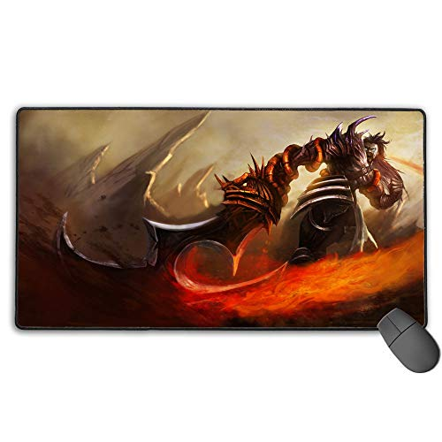 Gaming Mouse Pad for League Legends tryndamere demonblade, Computer Keyboard Mouse Mat Stitched Edges for PC Computer Laptop 15.8x35.5 in(40cm X 90cm)