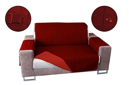 Banzaii Copridivano Antimacchia – Salvadivano Trapuntato Double Face – 3 posti Bordeaux/Rosso per Seduta da 170 a 195 cm