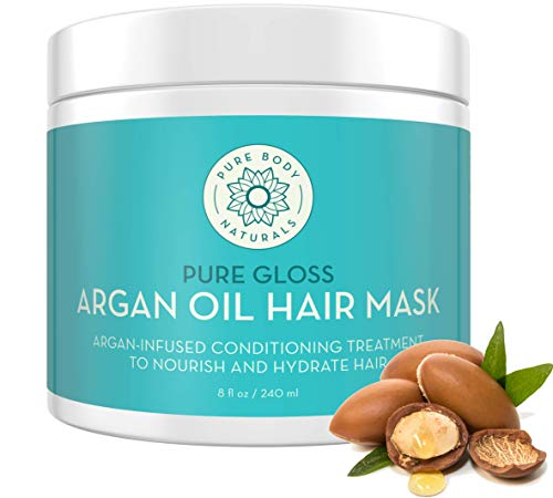 Pure Body Naturals Argan Oil Hair Mask, 8 Fluid Ounces - Argan Oil Hair Mask for Damaged Hair, Deep Conditioning Hair Treatment and Moisturizer