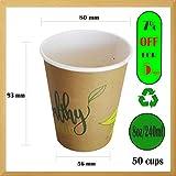 50 bicchieri di carta da 240 ml, coppette ecologiche, cappuccino, coppe per feste, bicchie...
