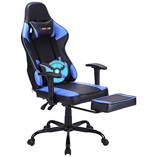 Storm Racer Massage Gaming Chair, High Back Racing PC Computer Desk Office Chair Swivel Ergonomic Executive Leather Chair with Footrest and Adjustable Armrests (Blue)