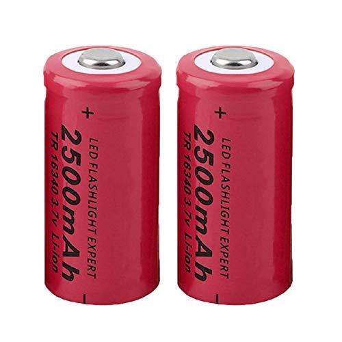 SUGGL 2pcs 3.7v Cr123a 2500mah 16340 Batería Recargable De Iones De Litio, para Linterna Faro Luz Led CáMara De Juguete Control Remoto