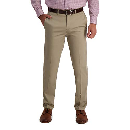 Haggar Men's Iron Free Khaki Straight Fit Flat Front Pants Now $12.08 (Was $36.99)