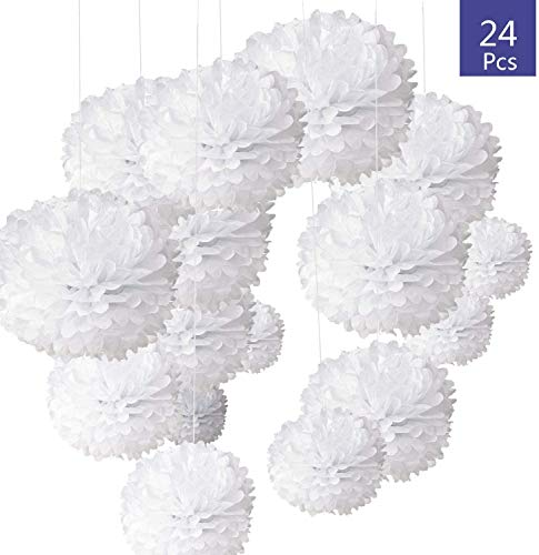 24 Stück Seidenpapier Pompoms Blumen Ball Dekorpapier Kit für Geburtstag Hochzeit Baby Dusche Parteien Hauptdekorationen und Partei Dekoration - Weiß