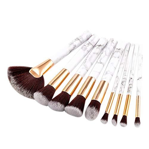 Ritapreaty 9pcs cosmétiques Set de brosses de Maquillage, brosses en Vrac de Poudre de Ventilateur avec marbre ressemblent poignées pour Le Visage et Les Yeux cosmétique