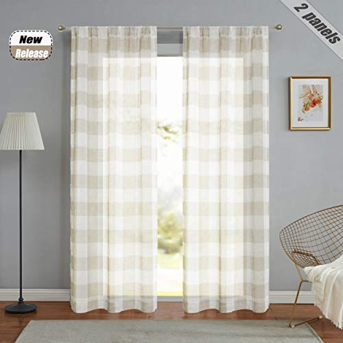 "Ronaldecor Linen Buffalo Plaid Sheer Curtain Rustic Semi Sheer Voile Window Curtain Drapes Rod Pocket Panels,Tartan Modern Classic, 2 Panels,40"" x 95"""