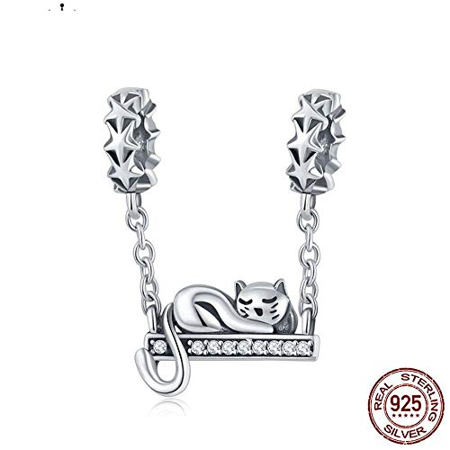 Plata esterlina Genuina Cute Cat Lying Swing Clear CZ Charms fit Pulsera Colgante Bead Women Fashion Jewelry Gift CQC856, España