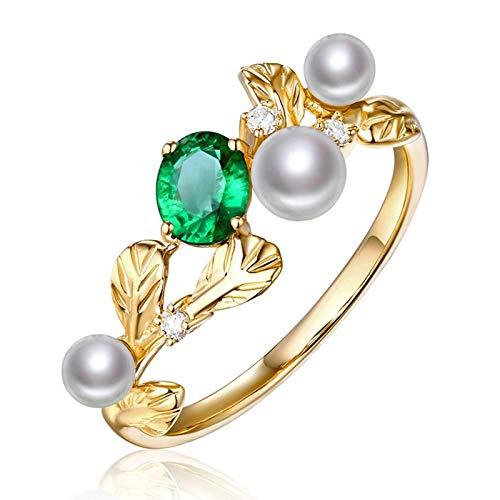 Beydodo Ringe 750 Gold Blatt mit Perle Oval Smaragd 0.4ct Eheringe für Frauen Verlobungsring Diamant Große 49 (15.6)