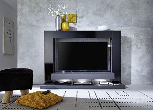 Dreams4Home Mediawand \'Kosmos I\' - B/H/T: 170 x 124 x 46 cm, in schwarz/grau, Beleuchtung:3 er Set Unterbauspot kalt-weiß