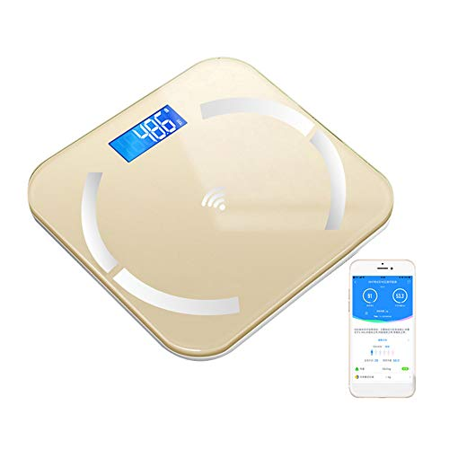 Bluetooth Smart Bathroom Scales for Body Weight Digital Scale Body Fat BMI Scale,Auto Body Composition Analyzer with Smartphone APP,Best Fitness Weight Loss Scale Health Monitor,Yellow,Battery type