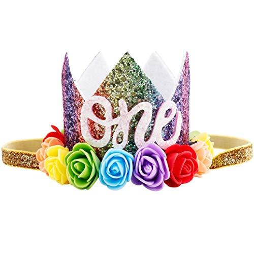 dyudyrujdtry strikte 1 ST Mooie Kids Meisje Verjaardag Feest Kerstversiering Bloem Regenboog Kroon Hoofdband Elastische Haarband Feestartikelen