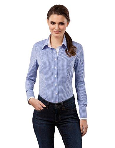 Vincenzo Boretti Damen Bluse kariert tailliert 100% Baumwolle bügelfrei Langarm Hemdbluse elegant festlich Kent-Kragen auch für Business und unter Pullover blau 38