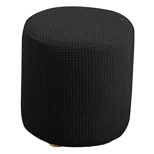 H HILABEE Cubierta Protectora Otomana Extensible para Muebles, Cubierta Redonda para Sofá para Sofá Casero - Negro