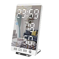Ornalry Digital Alarm Clock, Desk Clocks for Bedroom, Bedside, Small Smart Clock, 6 Large Mirrored LED Display Clocks, with USB Charger, Humidity & Temperature Detect(White)