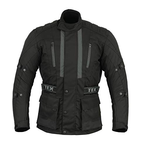 Mens Jerico Black CE Armoured Motorcycle Motorbike Waterproof Jacket - XL