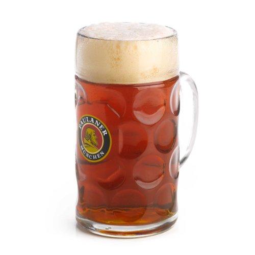 Paulaner Dimpled Isar Beer Mug - 1 Liter Mass Krug