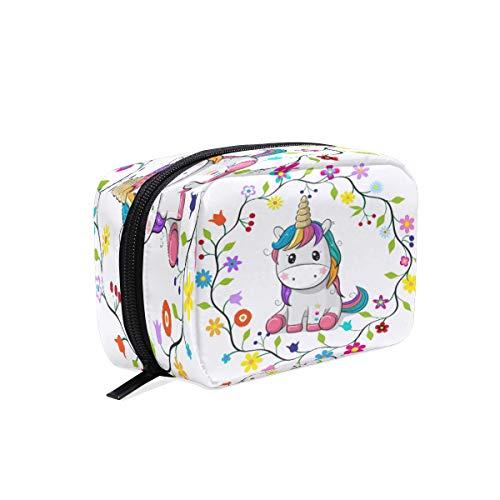 Bolsa de maquillaje BKEOY con diseño de unicornio y flores