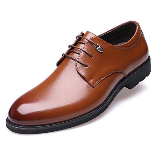 [Fengbao] 革靴 ビジネスシューズ メンズ 本革 リーガル 靴 スニーカー 通勤 レースアップ 柔らかい (25.5cm, ブラウン)