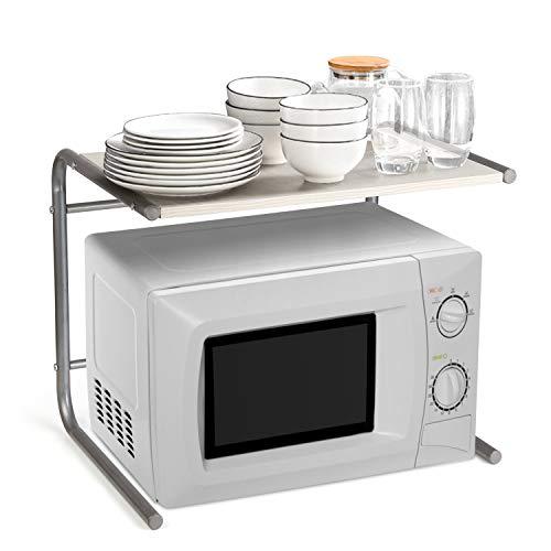 Amzdeal Estante de cocina, Estantería de microondas de la cocina, Estante de almacenamiento de acero inoxidable y madera, Soporte de microondas multifuncional (49.5x37x40.5cm)