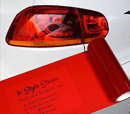 1A Style Sticker Rote Folie für Rückleuchten Folierung, 100cm x 30cm Größe, Premium Qualität, einfache Montag, kompatibel mit Hyundai i30n oder Seat Leon Cupra Ibiza,