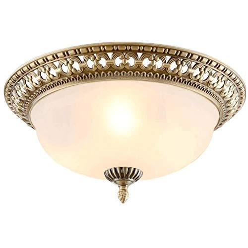 JJZXD Retro redonda de diseño vacío exquisito tallado de cristal lámpara de techo para salón, dormitorio, balcón, pasillo, pasillo, lámpara decorativa