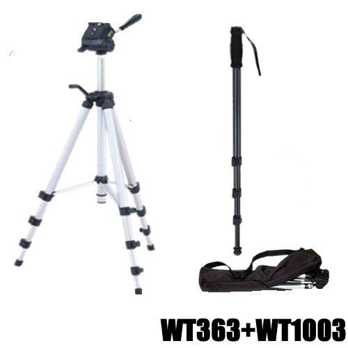 KIT statief fotostatief camerastatief DynaSun WT363 136 cm 3D-kop + monopod WT1003 171 cm + tas