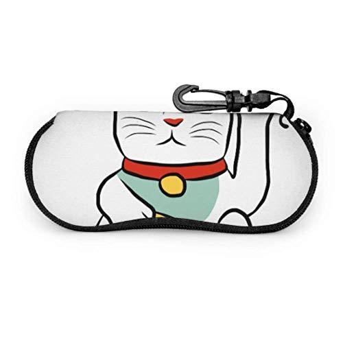 Lucky Cat Maneki Neko Welcome 2018 Travel Eyeglass Case Sunglass Protector Pouch Light Portable Neoprene Zipper Soft Case Best Sunglasses Case