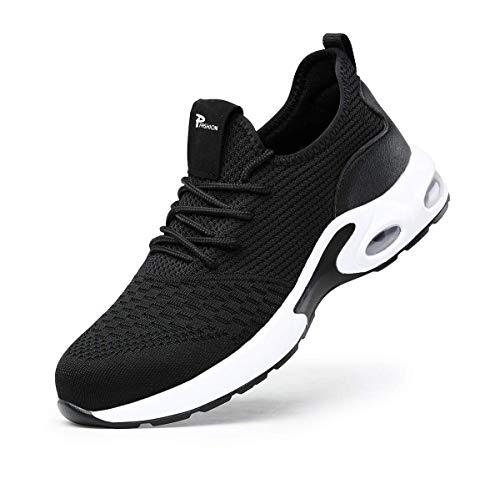 JRR Zapatos de seguridad para hombre y mujer, ligeros, transpirables, reflectantes, con puntera de acero, color Negro, talla 38 EU