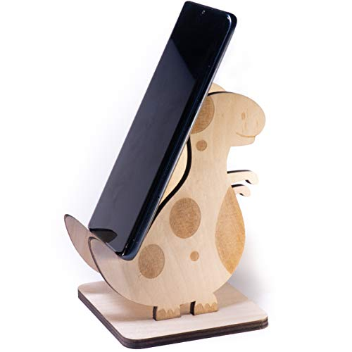 WoodenCrew Foldable and Flip Dinosaur Phone Tablet Stand, Universal Wooden Charging Cool Desk Cell Phone Dock, Natural Wood Cute Office Smart Phone Holder, Mini Rustic Phone 8 10 11 Max Stand w012