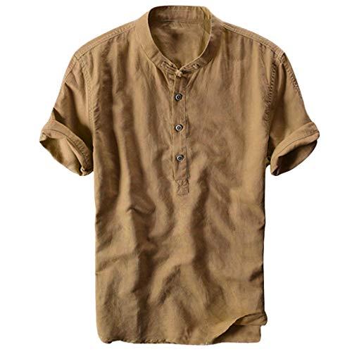Overdose Camisas Hombre Lino De Verano Hawaiana Originales para Bodas Camisas Hombre Sin Cuello Camisetas Hombres Blusa Tops Manga Corta De Vestir Vintage Slim Fit Informal Uni Color