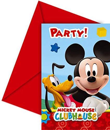 Folat B.V. Pack 6 Invitaciones, Mickey Mouse, Papel, Unica, 6 Unidades