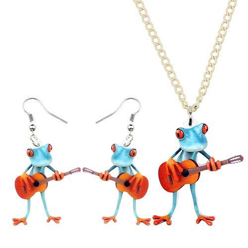 AdronQ® Acryl Schmuck Set Gitarre Blau Rot-Finger Frosch Halskette Ohrringe Lustig Cool Anhänger Für Frauen Mädchen Charme
